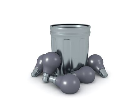 3D Rendering of garbage can with many lightbulbs around it. 3D Concept image about a bad idea. 3D Rendering isolated on white.