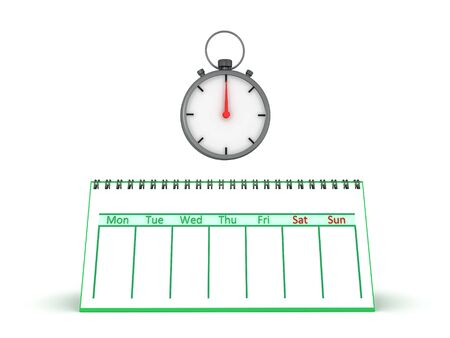 3D Rendering of empty calendar and stopwatch. 3D Rendering isolated on white.