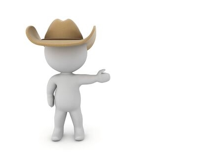 3D Cowboy showing to the right. 3D Rendering isolated on white.