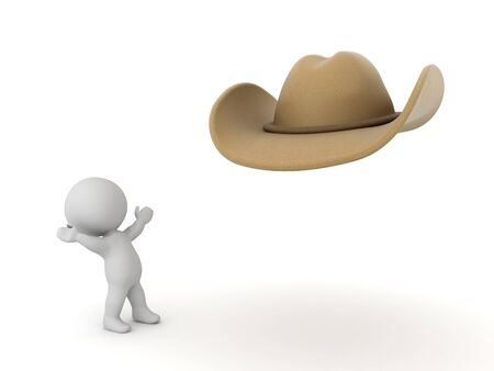 3D Character looking excited at cowboy hat. 3D Rendering isolated on white. Stockfoto