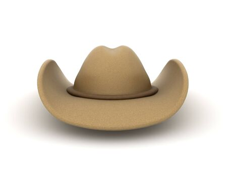 3D Rendering of cowboy hat. 3D Rendering isolated on white. Stockfoto