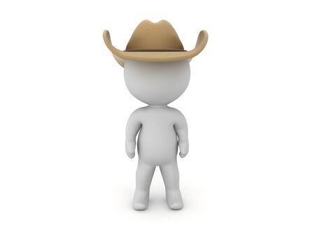 3D Character with cowboy hat. 3D Rendering isolated on white.