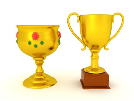 3D Rendering of gold cup and goblet. 3D Rendering isolated on white.