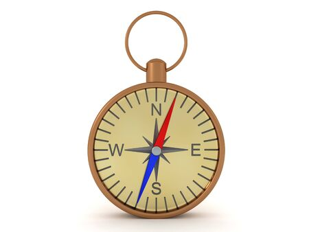 3D Rendering of compass. 3D Rendering isolated on white.
