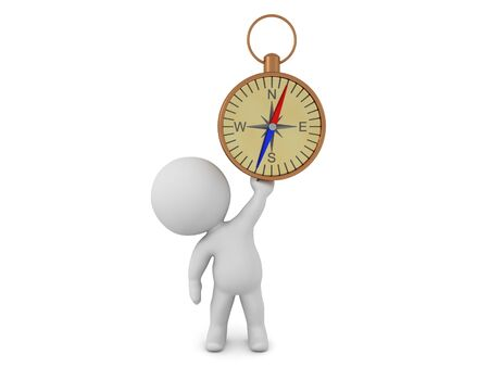 3D Character holding up compass. 3D Rendering isolated on white.