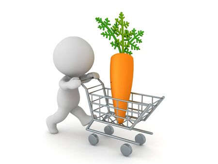3D Character buying carrot. 3D Rendering isolated on white.