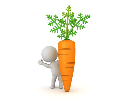 3D Character waving from behind big carrot. 3D Rendering isolated on white.
