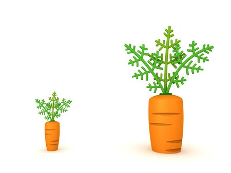 3D Rendering of a big carrot and a small carrot. 3D Rendering isolated on white.