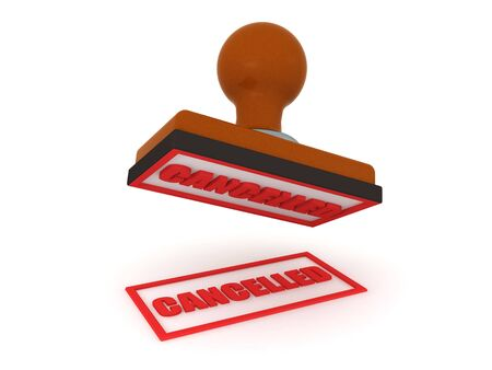 3D Rendering of stamp with the text Canceled. 3D Rendering isolated on white.