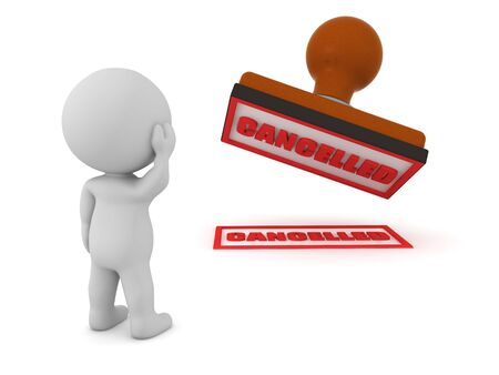 3D Character looking concerned at cancel stamp. 3D Rendering isolated on white.