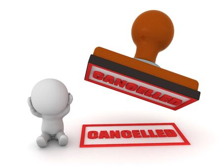 Stressed 3D character next to big red cancel stamp. 3D Rendering isolated on white. Stock Photo