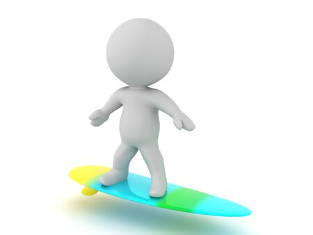 3D Character riding surf board. 3D Rendering isolated on white.