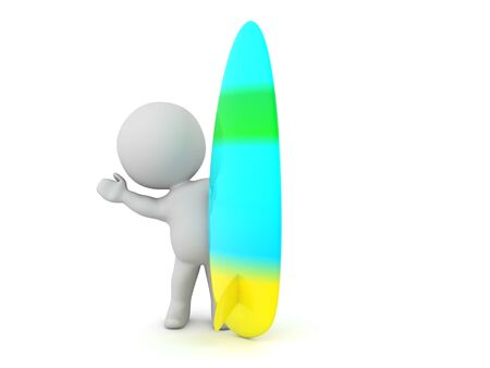 4932 3D Character waving from behind surf board. 3D Rendering isolated on white.