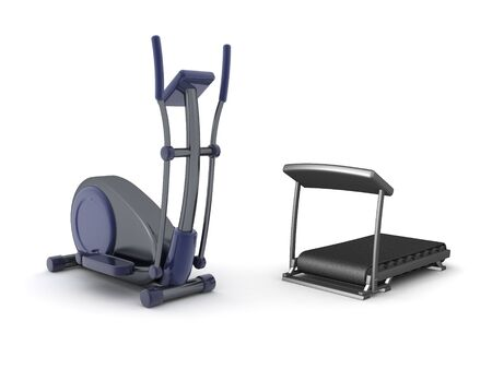 3D Rendering of eliptical bycicle and treadmill. 3D Rendering isolated on white.
