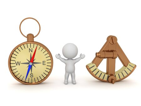 Happy 3D Character between sextant and compass. 3D Rendering isolated on white.