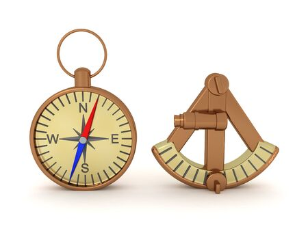 3D Rendering of compass and sextant. 3D Rendering isolated on white. Standard-Bild