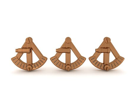 3D Rendering of three sextants. 3D Rendering isolated on white.