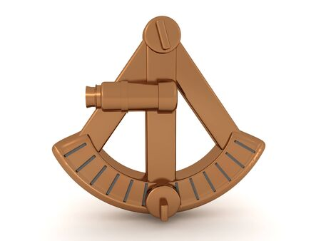 3D Rendering of sextant. 3D Rendering isolated on white.