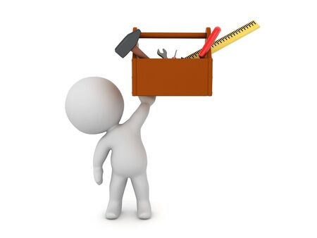 3D Character holding up a tool box. 3D Rendering isolated on white.