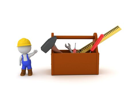 3D Worker showing tool box with tools. 3D Rendering isolated on white.