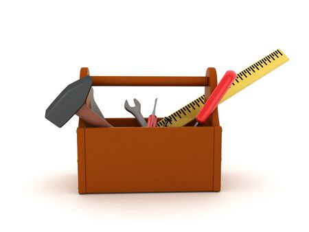 3D Rendering of tool box with tools. 3D Rendering isolated on white.