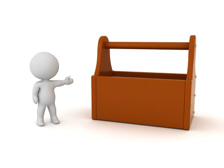 3D Character showing a tool box. 3D Rendering isolated on white. Standard-Bild