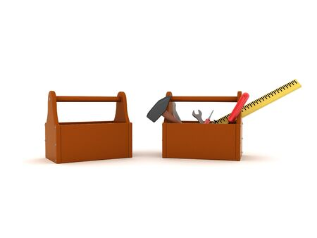 3D Rendering of two tools boxes. 3D Rendering isolated on white.