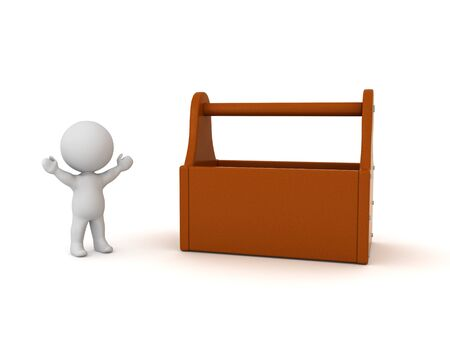 Happy 3D Character next to tool box. 3D Rendering isolated on white.