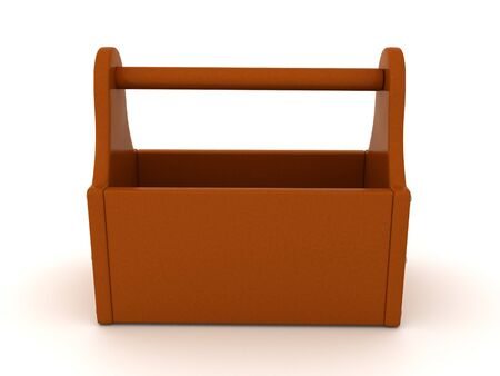 3D Rendering of an empty tool box. 3D Rendering isolated on white.