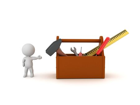 3D Character showing a tool box with tools. 3D Rendering isolated on white. Standard-Bild