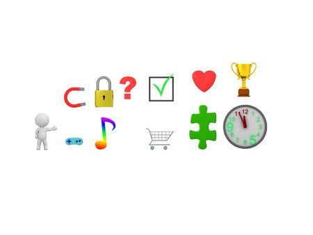 3D Character showing various icons. 3D Rendering isolated on white. Standard-Bild