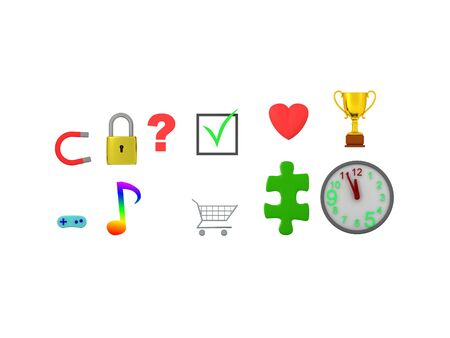 3D Rendering of various icons. 3D Rendering isolated on white. Standard-Bild