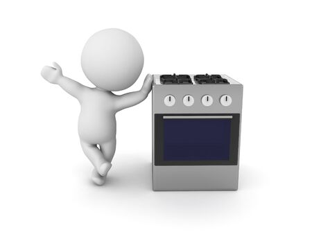 3D Character leaning on gas stove. 3D Rendering isolated on white.