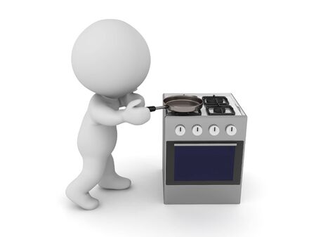 3D Chef using gas stove. 3D Rendering isolated on white.