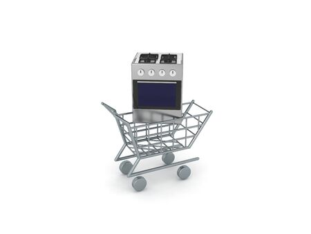 3D Rendering of gas stove in shopping cart. 3D Rendering isolated on white. Standard-Bild