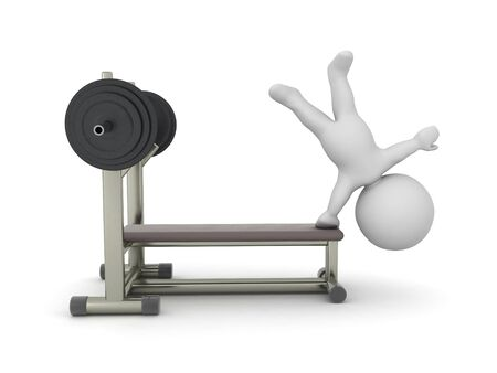 3D Character doing a handstand on a bench press. 3D Rendering isolated on white press.