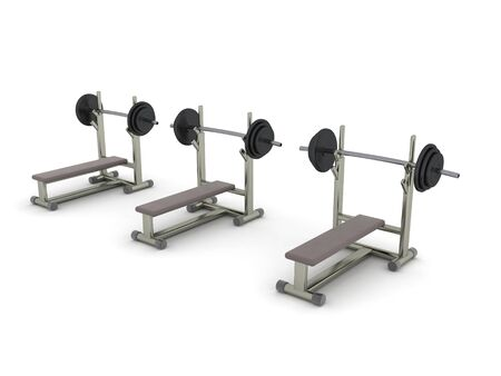 3D Rendering of three bench presses. 3D Rendering isolated on white.