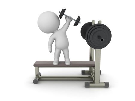 3D Character standing on top of bench press. 3D Rendering isolated on white press.