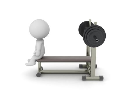 3D Character sitting on a bench. 3D Rendering isolated on white press