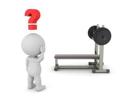 3D Character looking curious at bench press. 3D Rendering isolated on white press. Standard-Bild