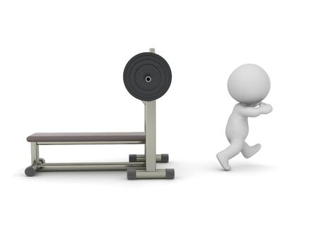 3D Character running away from bench press. 3D Rendering isolated on white press. Standard-Bild
