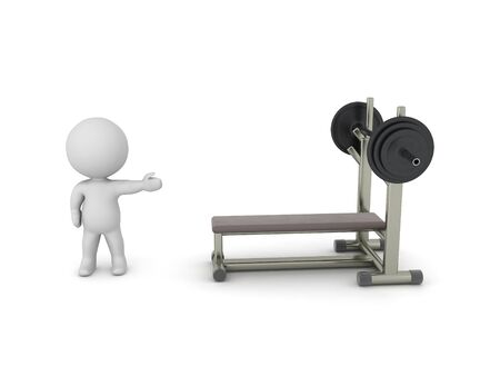 3D Character showing bench press. 3D Rendering isolated on white.