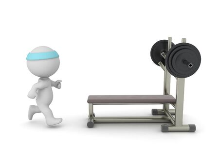 3D Character running towards bench press. 3D Rendering isolated on white.