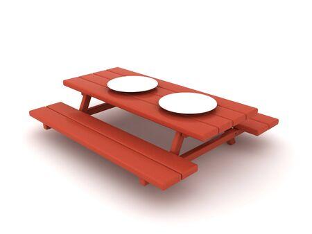 3D Picnic dinner table. 3D Rendering isolated on white.