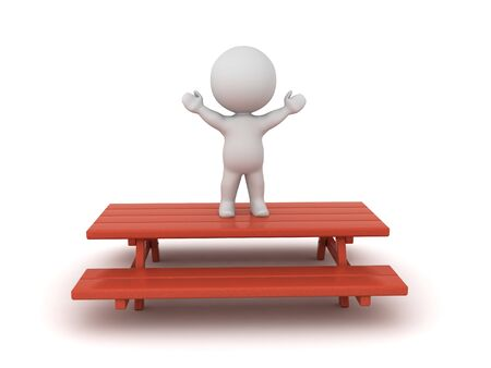 3D Character standing victorious on picnic bench. 3D Rendering isolated on white. Standard-Bild