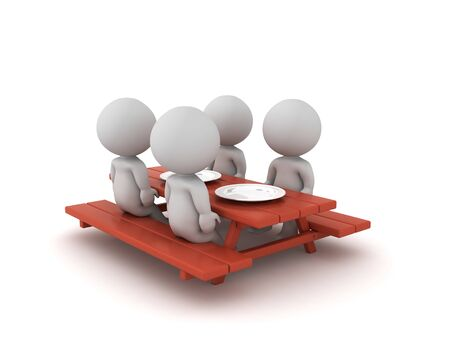 3D Characters sitting on picnic dinner table. 3D Rendering isolated on white. Standard-Bild