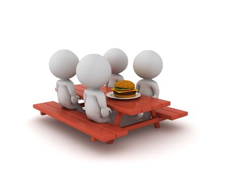 3D Characters eating a burger on picnic bench. 3D Rendering isolated on white. Standard-Bild