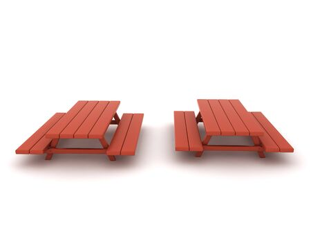 3D Rendering of two picnic benches. 3D Rendering isolated on white.