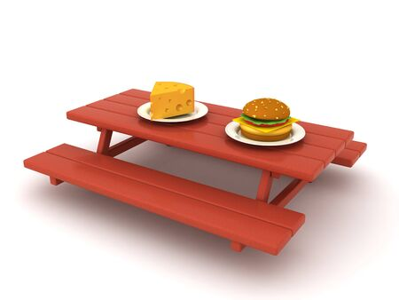 3D Rendering of food on picnic table. 3D Rendering isolated on white.