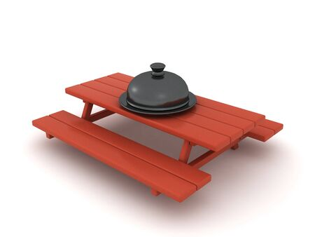 3D Stainless steel cloche on picnic table. 3D Rendering isolated on white. Standard-Bild
